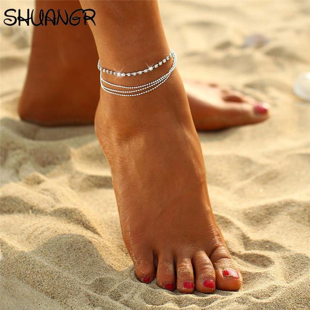 Women Fashion Gold Color Chian On Foot Girl Beach Ankle Bracelet