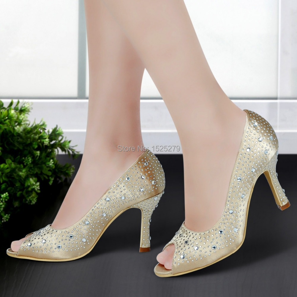 ФОТО Custom Made EP11066 Fashion Gold Women Bridal Sandals Prom Pumps Peep Toe High Heels 3.5'' Rhinestones Satin Wedding Party Shoes