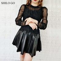 SHILO GO Leather Dress Womens Spring Fashion sheepskin genuine leather Dress O Neck puff sleeve embroidery lace A Line dress