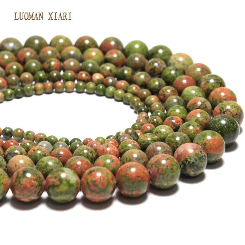 5a qualità unakite perline in pietra naturale per monili che fanno forma rotonda perline di cristallo braccialetto collana fai da te 4/6/8/10 / 12mm