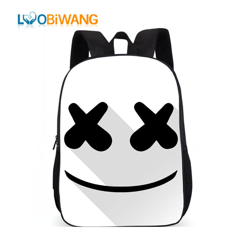 LUOBIWANG Marshmello Children Schoolbag Famous DJ Face Alone Backpack For Teenager Boys And Girls Men Women Hip Hop Backpack