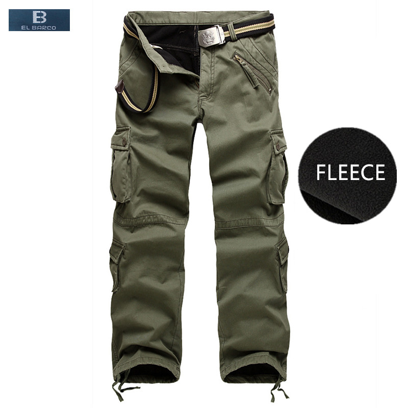 el Barco Pants Winter Fleece Cotton Casual Pants Men Soft Warm Military Cargo Pants Khaki Black Army Green Long Trousers Plus Size