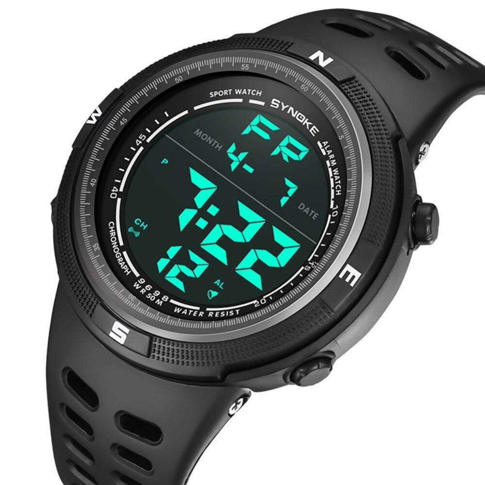 Красочные Для мужчин двойной Дисплей часы светодиодный цифровой наручные часы черный Сигнализация 50 м Водонепроницаемый спортивные часы д...