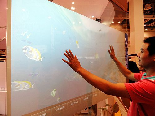 82 interactive usb touch screen film kit foil, High Quality nano tech touch foil through LCD/projector (window shop display)