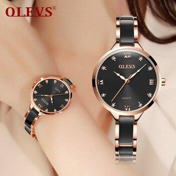 OLEVS Rose Gold Luminous Black Steel Ceramic Watches 1