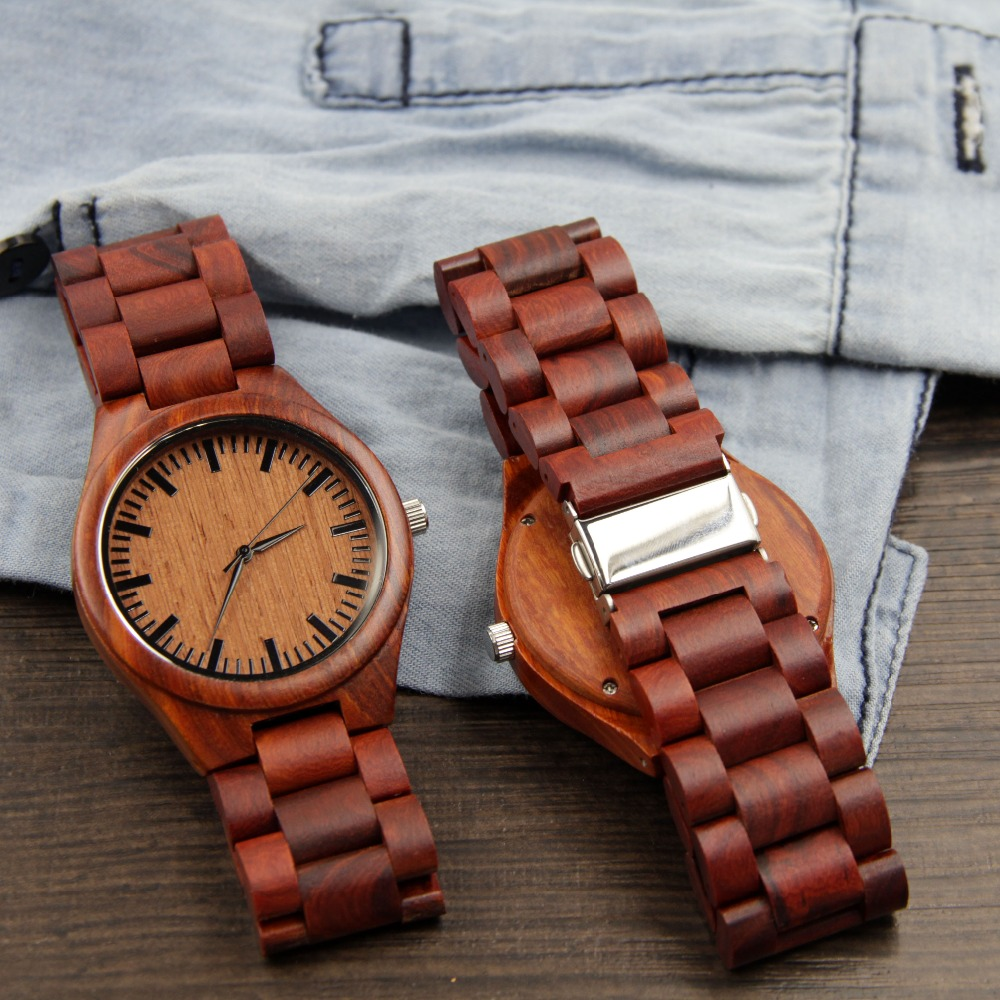 2016 New Mens Wooden Watch New Year Gift Bangle Quartz Watch Japan Movement Wood Women Wristwatch