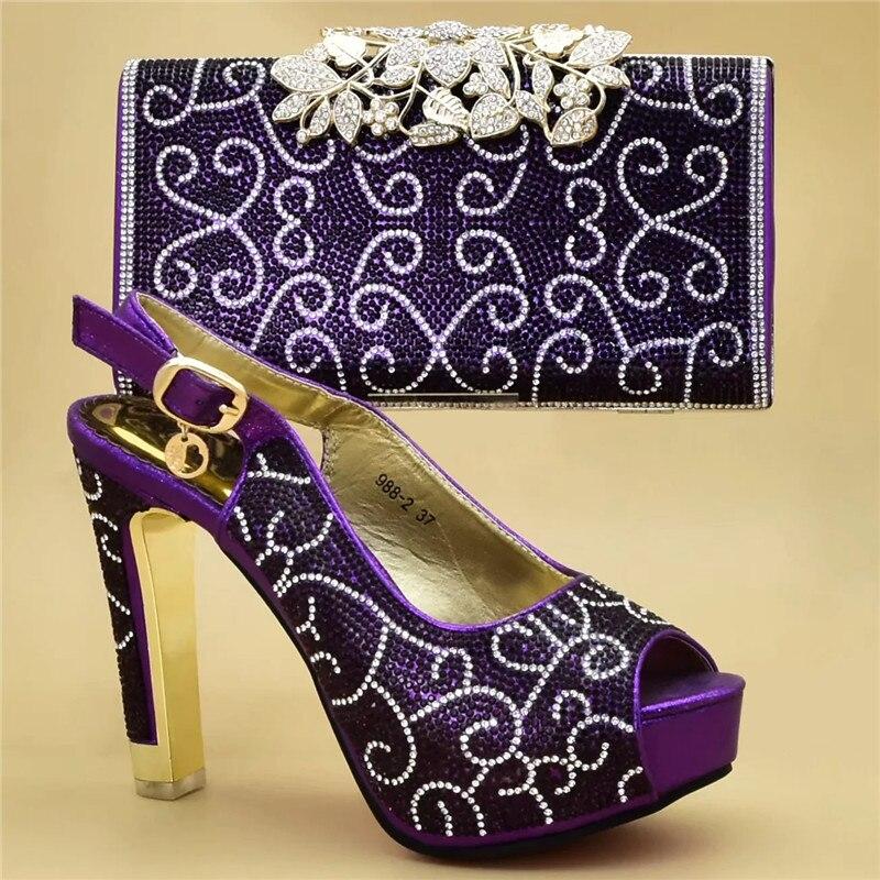 Africana Altos Mujeres Con Italiano Decorado Las Azul wine Diamantes Tacón Señoras Y purple Para Bombas Nuevo Los De oro Zapatos Bloque black Tacones Bolso Imitación x6qY5w5a7