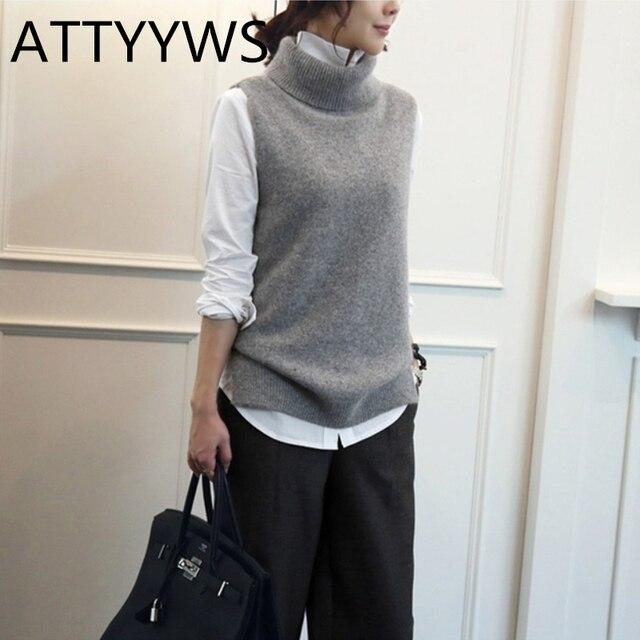 ATTYYWS của Phụ Nữ dệt kim cashmere len cao cổ vest áo thun phụ nữ của len áo len không tay vest thời trang mới hoang dã Thông Thường