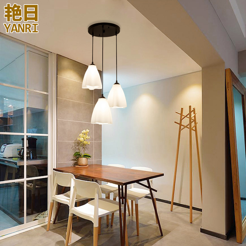 Restaurant droplight three American country dining room table lamp contracted modern Nordic kitchen lamps and lanterns ...
