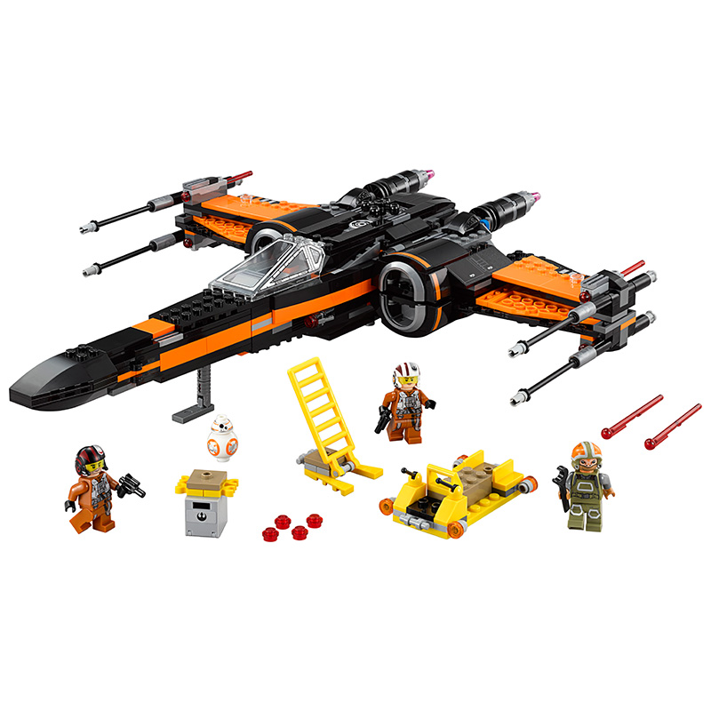 2017  Star Space Wars 7 Poe's X-Wing Fighter Figure toys Standard brick size building blocks set toy for kids