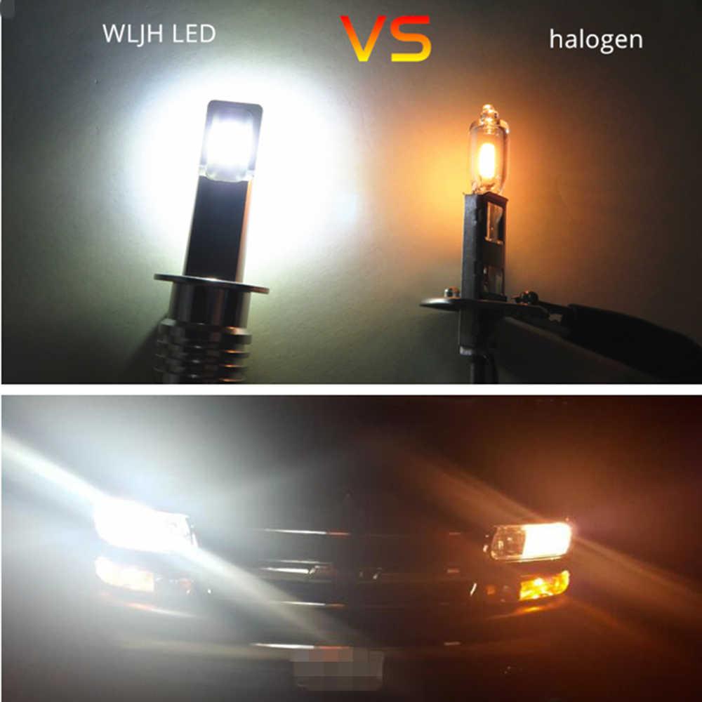 WLJH 2x High Power 3570 CSP Chip H3 H1 LED Replacement Bulb For Car Fog Lights Daytime Running Light DRL Lamp White 12V- 24V