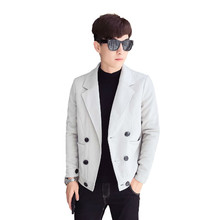 2018 Autumn Recommend New listing Fashion Both Row Buckle British style Jacket Coat Male The Loose Tide black silver size M-2XL