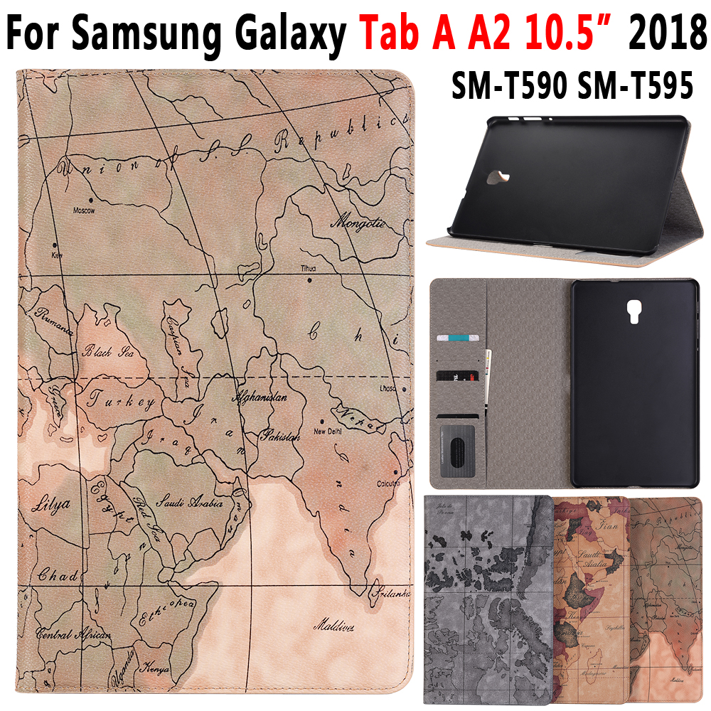 Cover Case For Samsung Galaxy Tab A A2 10.5 2018 T590 T595 SM-T590 SM-T595 Map Pattern Leather Smart Sleep Awake Funda Coque