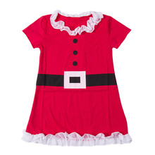 Hot Lolita Christmas Santa Claus Baby Kids Girls Flower Lace Belt Flounced Dress RED