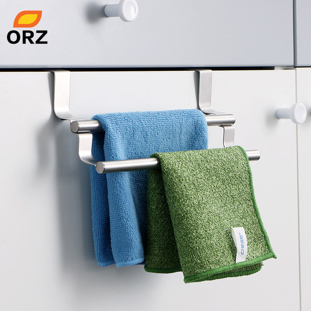 ORZ Kitchen Cabinet Towel Rack Stainless Steel Hook Type Towel Bar ...