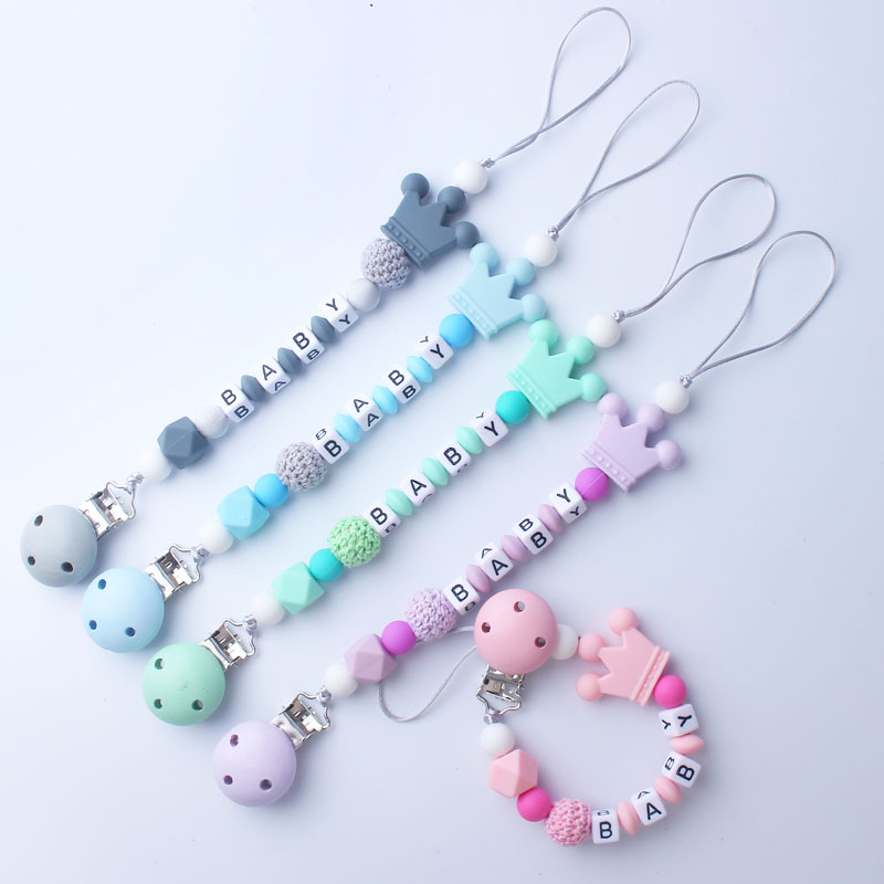 1pcs Pink Silicone Personalised Name Baby Pacifier Clips Crochet Beads Silicone Crown Pacifier Chain Holder Baby Shower Gift 2