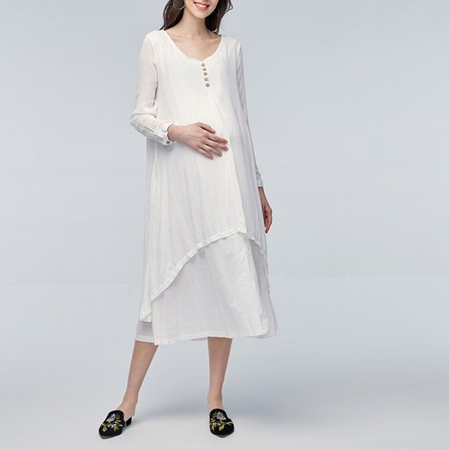 62552499cb Maternity Clothing 2018 Spring Vintage Maxi Dress Pregnant Women V Neck  Long Sleeve Casual Loose Pregnancy Vestidos Plus Size
