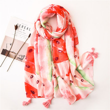 Women Cotton Scarf Bufandas Invierno Mujer 2019 Boho Head Shawl Luxury Brand Ponchos and Capes Large Fruit Pashmina Long Scarves