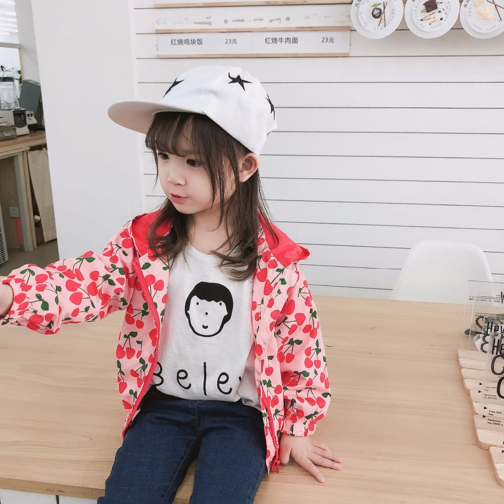 345d9f411 new Fall Baby Girls thin Jackets Cherry printed Sweet Kids Outerwear & Coat  Hooded Children Clothing-in Jackets & Coats from Mother & Kids on  Aliexpress.com ...