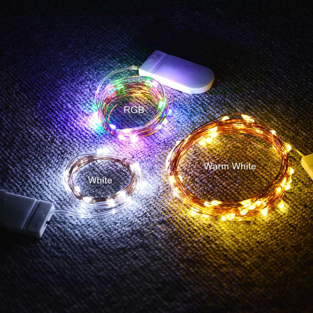 IP65 Батарея питание открытый украшения новогодней елки гирлянда лампа Медный провод праздник света светодиодный Строка Фея Света 2 м 5 м 10 м