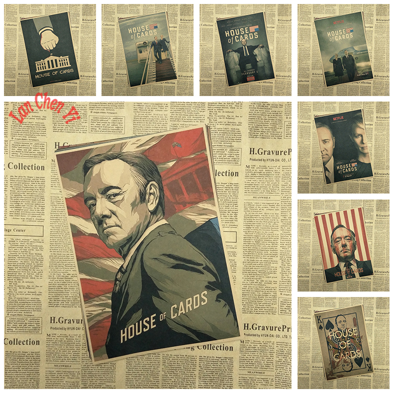 House of cards retro movie poster of president of the United States television drama kraft paper painting retro poster