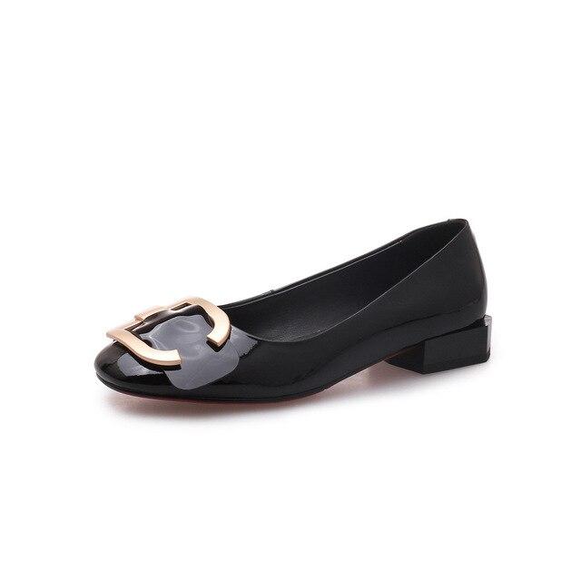 Women Pumps Low Heel Pumps Geunine Leather Autumn Women Shoes