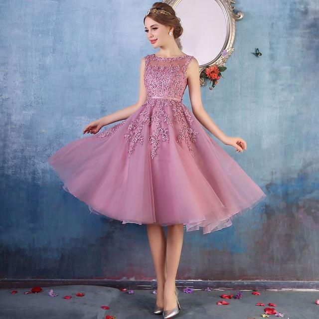 2016 Robe De Soiree Rosa Laço Curto Vestidos de Noite Bordados com Cercadura Perspectiva Backless Moda Festa Noiva Prom Forma