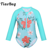 TiaoBug/цельный купальник для маленьких девочек; купальный костюм с длинными рукавами и цветочным принтом; детская пляжная одежда для малышей; детский купальный костюм