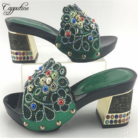Capputine Green Color African Style Rhinestone Woman Shoes New Italian High Heels Shoes For Party Dress
