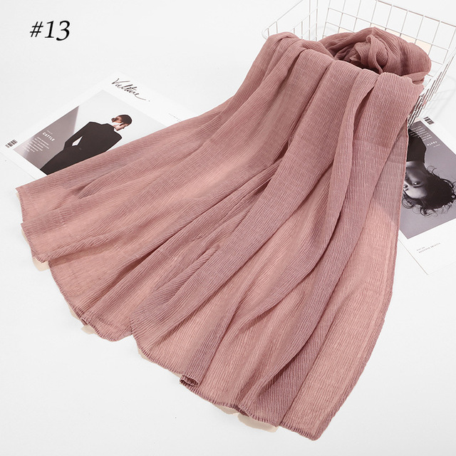 Winter Womens Crinkle Cloud Hijab Cotton Viscose Hijabs Shawl Muslim Headscarf Turban Arab Hui Solid Color Crumpled Wrap Scarf