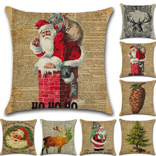 45x45cm Christmas Pillow Case Pineapple Elk Christmas Tree Pillow Cover Newpaper Santa Claus Pattern Home Office Pillowcase santa claus and trees pattern linen pillow case