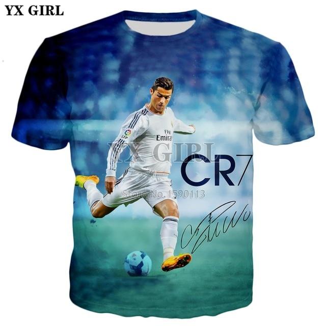 338419a96c6a € 9.52 28% de DESCUENTO|Yx chica 2018 nueva moda verano mens 3D camiseta  Cristiano Ronaldo impreso t shirts hombres/mujeres Cool casual camiseta en  ...
