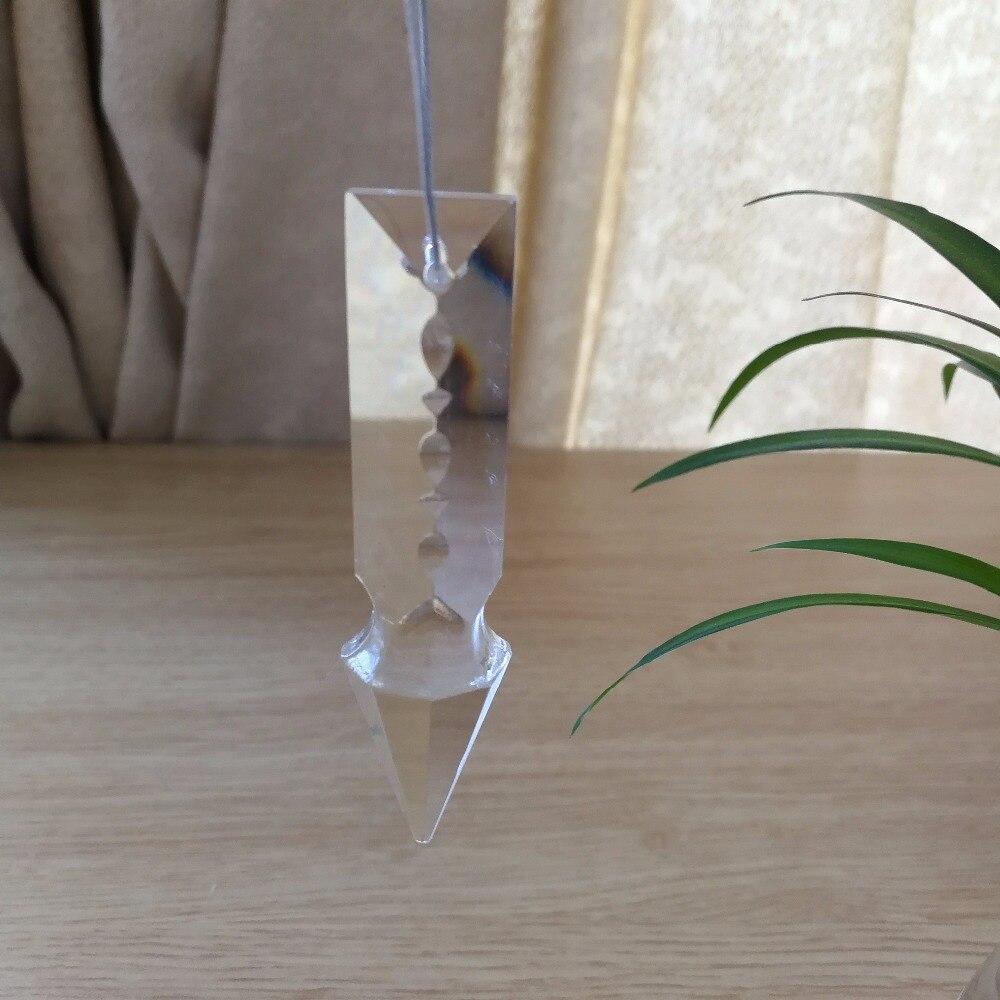 76mm 10 unidades de cristal largo de la lanza Cur prismas Suncatcher piezas de prisma transparente para la iluminación de la pieza de la decoración de la araña