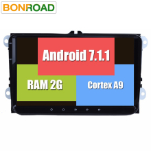 "RK3188 2Din 9"" Android 7.1.2 Car Multimedia Player for VW GOLF 5 Golf 6 Polo Passat Jetta Tiguan Touran GPS Navigation for Skoda"