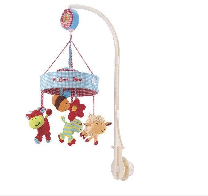Музыкальная шкатулка в британском стиле, музыкальная плюшевая кровать с изображением животных, вращающаяся колокольчик, Детская Мобильная