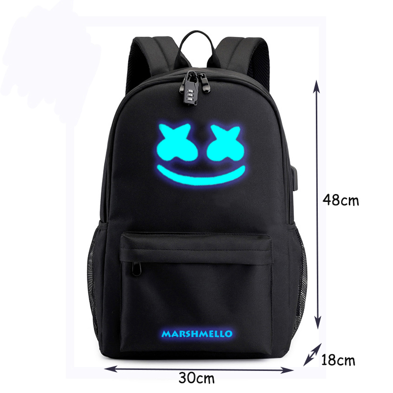 Image 2 - Canvas Luminous Waterproof DJ Marshmello Anti theft Laptop Backpack for Teenager Boys Girls Student School Backpack Men Womenbag-in Backpacks from Luggage & Bags