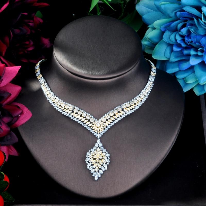 HIBRIDE Unique luxe pendentif Double ton Dubai bijoux ensemble CZ boucles d'oreilles collier femmes mariée bijoux ensemble fête cadeaux N-899 - 4