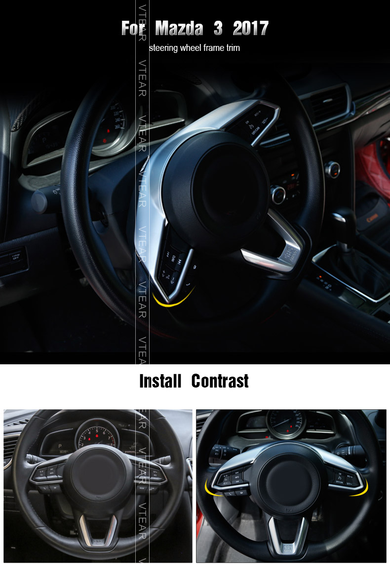 2PCS Car ABS Interior Steering Wheel Cover Trim  for LHD Mazda CX-5 2017 2018