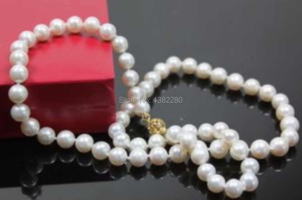 QISHIJIE 2 Store 7-8mm White freshwater pearl necklace 18 inches DIY women fashion beautiful jewelry making design gift
