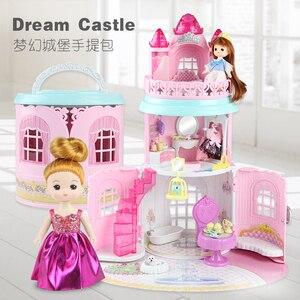 Image 2 - Bolso de Casa de Diy para muñecas, muebles, accesorios en miniatura, linda casa de muñecas, regalo de cumpleaños, figura para casa de juguete, muñecas, juguetes para niños