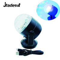 Jiaderui LED Mini Disco Ball Party Lights Portable USB Music Sound Lamp 7 Color Changes Rotating