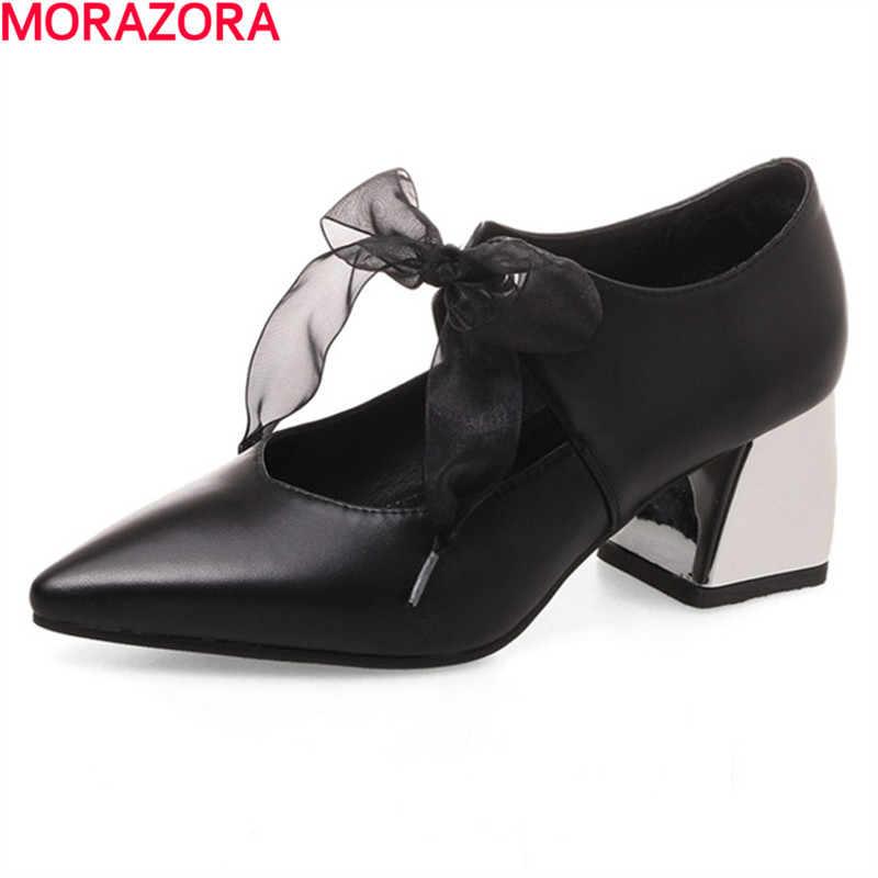 MORAZORA Big size 34-40 med heels shoes fashion spring single shoes pointed toe lace up genuine leather simple women pumps shoes morazora plus size 34 42 wedges shoes med heels 4 5cm round toe single shoes fashion lace up women pumps platform