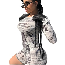 Old Newspapers Printed Two Piece Set Short Sleeve Crop Top Sets For Women Bodycon Bodysuit Bike Shorts Bandage Playsuits