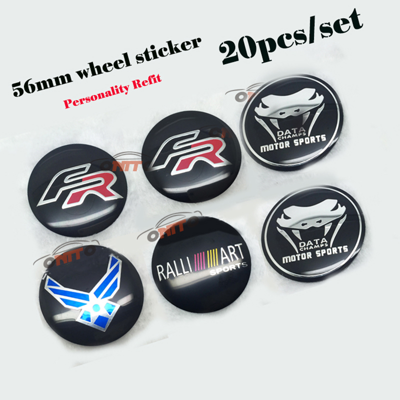 20pcs 56mm Stickers FR RALLIART DATA US AIR FORCE For Seat Mitsubishi Bmw Nissan Opel Car Wheel Center Badge Emblem Auto Decals