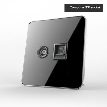 Type 86 Black mirror switch Household Wall TV Computer socket LED Light- Point switch 1 2 3 4 gang 1 2 way  EU socket USB 23