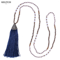 KELITCH Jewelry Navy Blue Tassel Pendant Necklace Crystal Beaded Handmade Bib Long Chain Friendship Bracelet For
