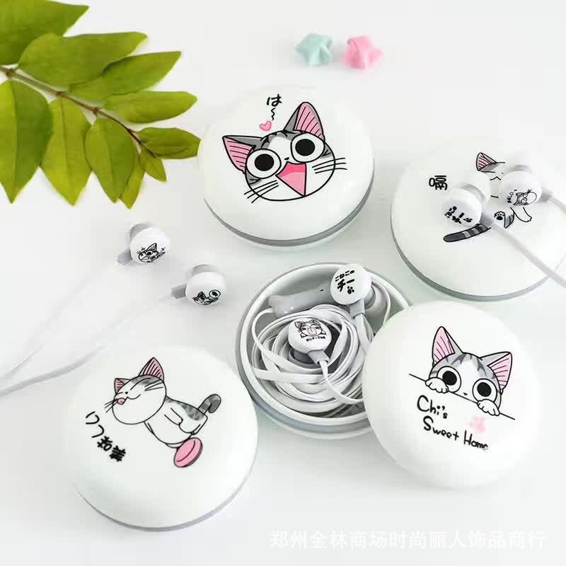 4pcs 3.5mm in-ear Earphone Cartoon Cat Style Headset Earphones Earbuds for iPhone Samsung Mp3 Headphone with case Storage Box