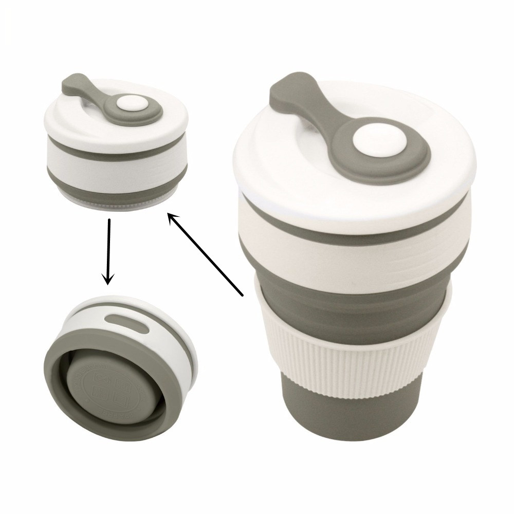Սուրճի բաժակներ Travelանապարհորդություն ճկուն սիլիկոնային դյուրակիր թեյի գավաթ բացօթյա ճամբարների համար Արշավային արշավային պիկնիկի փեղկավոր գրասենյակ Waterրի գորգեր BPA անվճար
