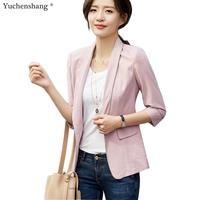 Blazer for Women Summer Wear Casual Style Breathable Coat Half Sleeve Jackets Single Button Outwear Tops