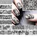 12 Unids/lote belleza de encaje negro diseño nail art sticker calcomanías de transferencia de agua de uñas decoración de accesorios de herramientas de manicura 62536